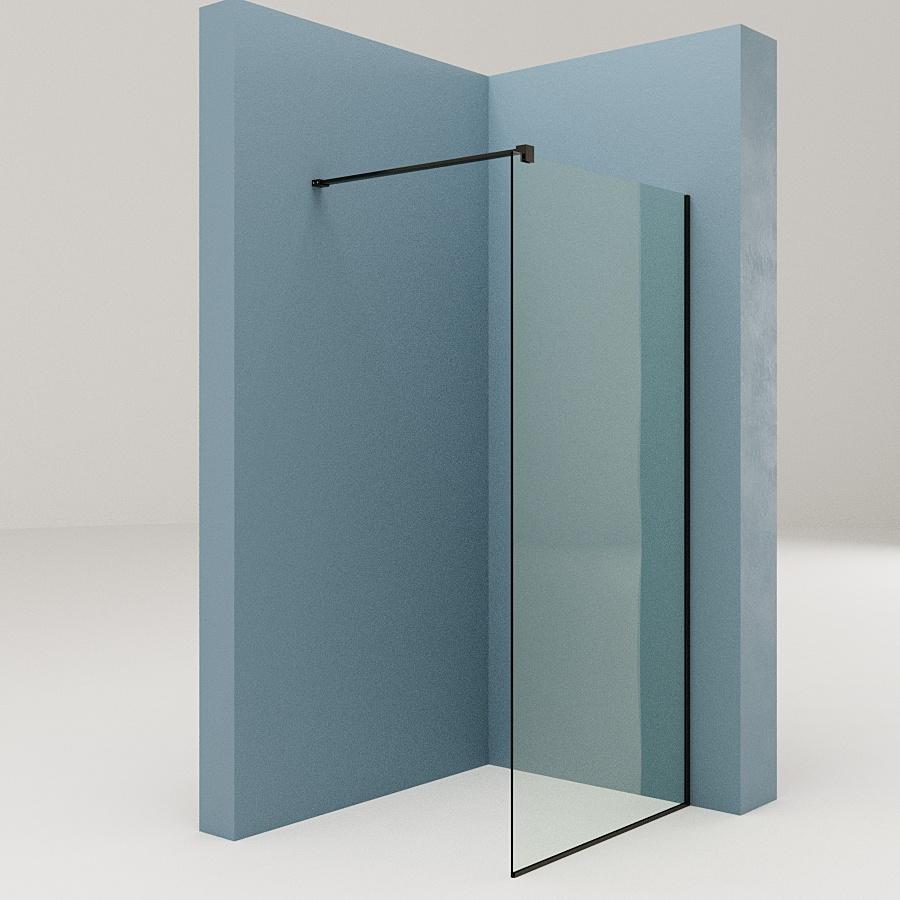 Перегородка в ванну стеклянная с дверкой с прозрачным стеклом