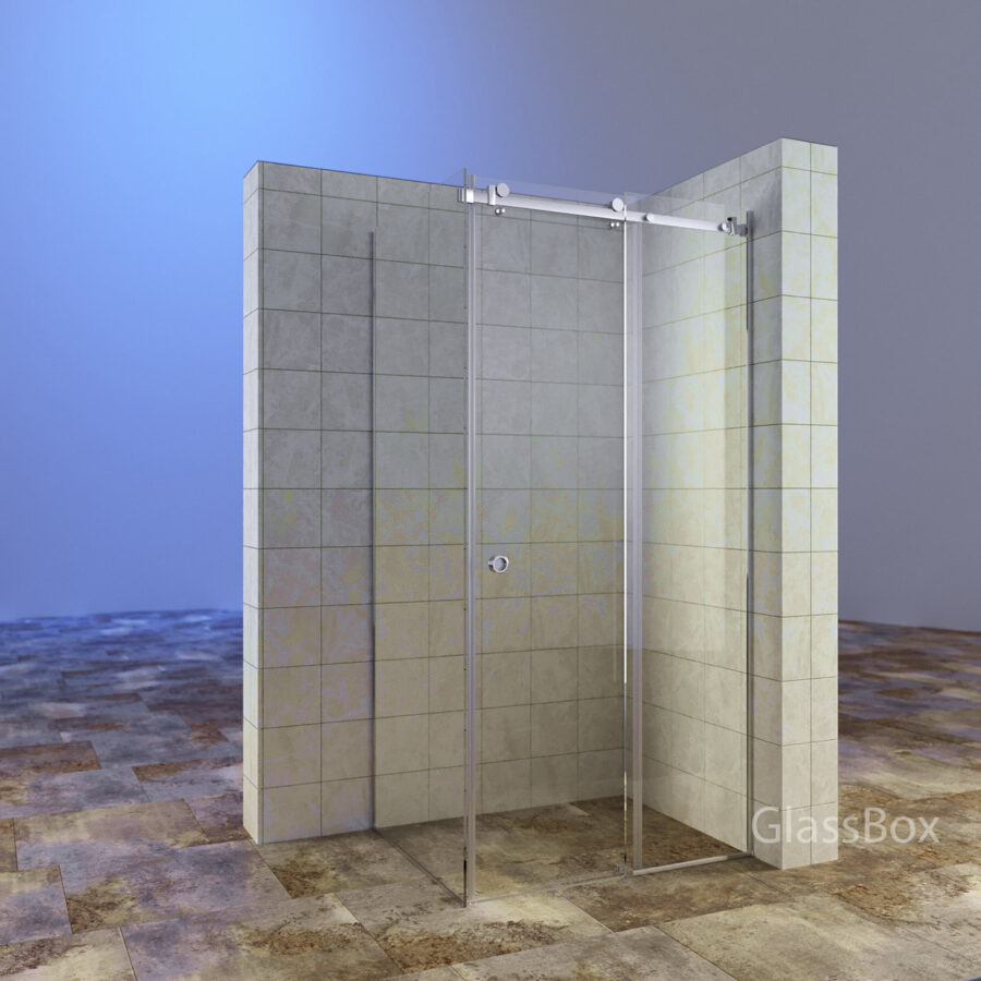 Перегородка раздвижная стеклянная с дверкой с прозрачным стеклом